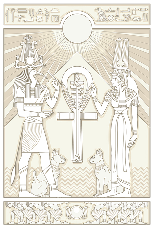 Color illustration of the Egyptian gods Thoth and Isis